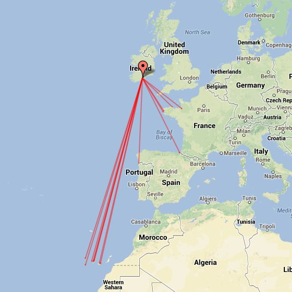 Map of 144MHz tropo QSOs on 01/07/13