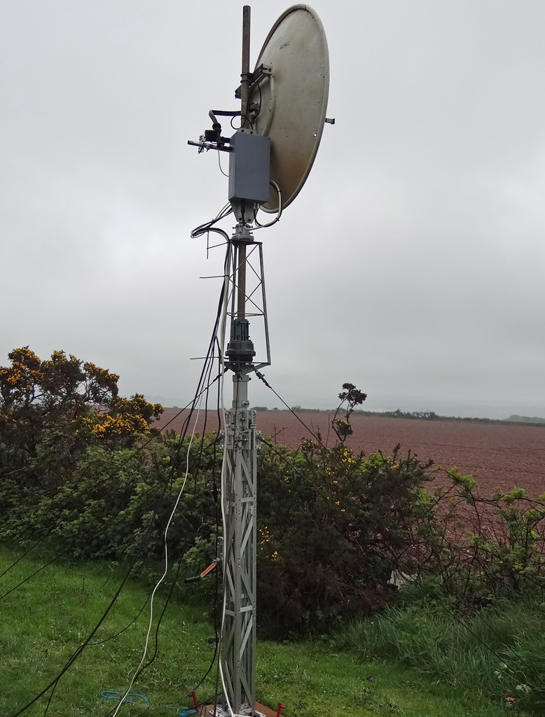 10GHz mast with mast-head transverter and dish