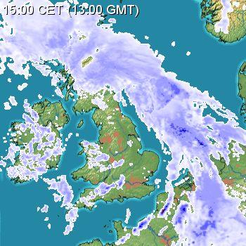 Rain radar 03/05/15 13:00z